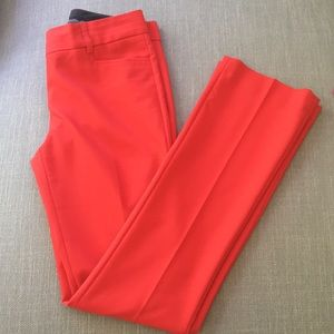 Red straight leg pant.